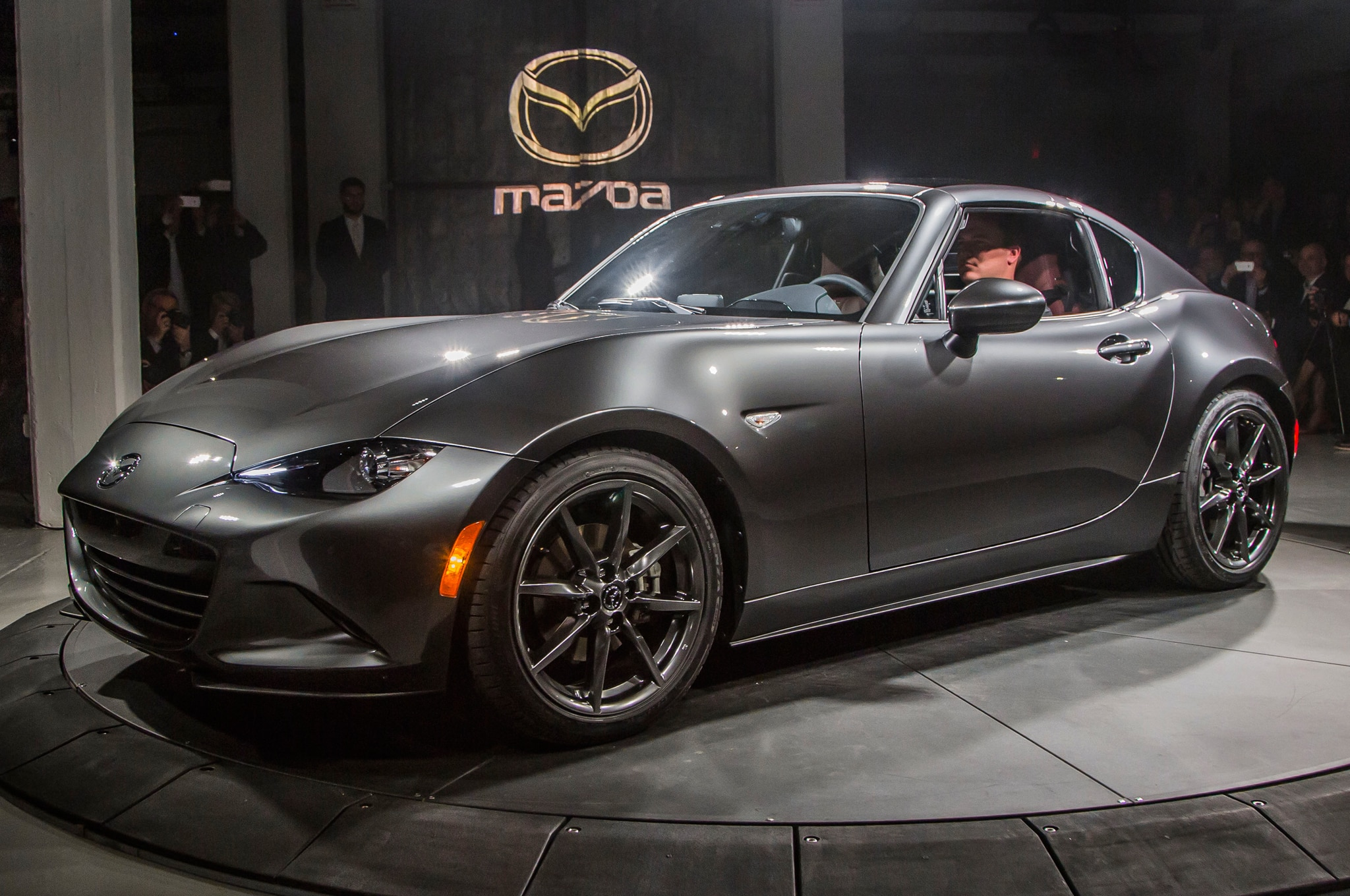 2017 Mazda MX 5 Miata RF On Stage Front Three Quarter View Top Up