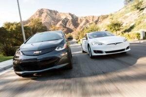 2017 Chevrolet Bolt EV Premier Vs 2016 Tesla Model S 60 Front End In Motion 05 E1477686593847 3 300x200