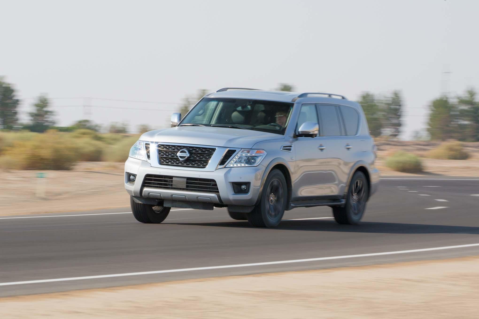 2017 Nissan Armada Platinum Front Three Quarter In Motion