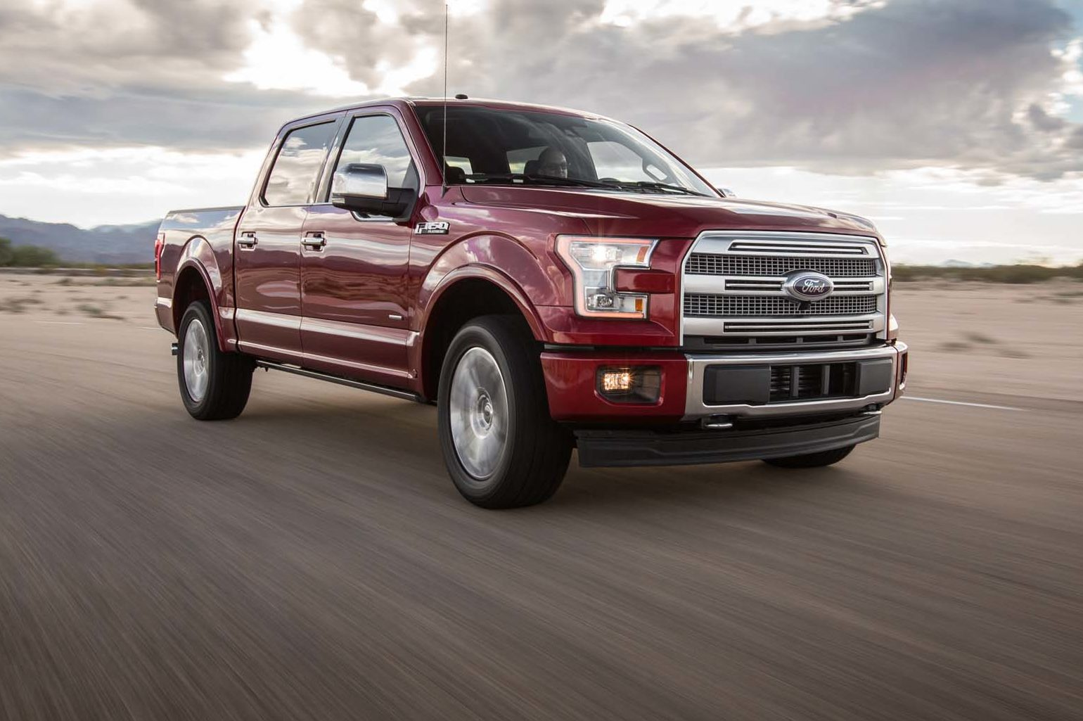 2017 Ford F 150 Platinum 4x4 EcoBoost Front Three Quarter In Motion 03 E1477965068208