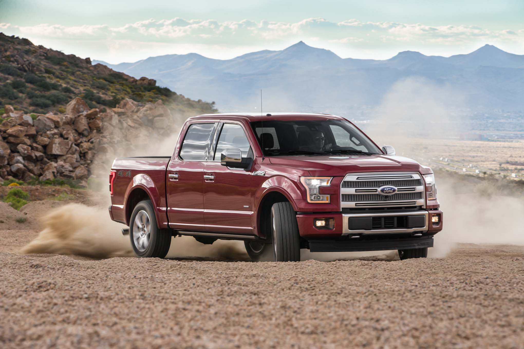 2017 Ford F 150 Platinum 4x4 EcoBoost Front Three Quarters In Motion 90