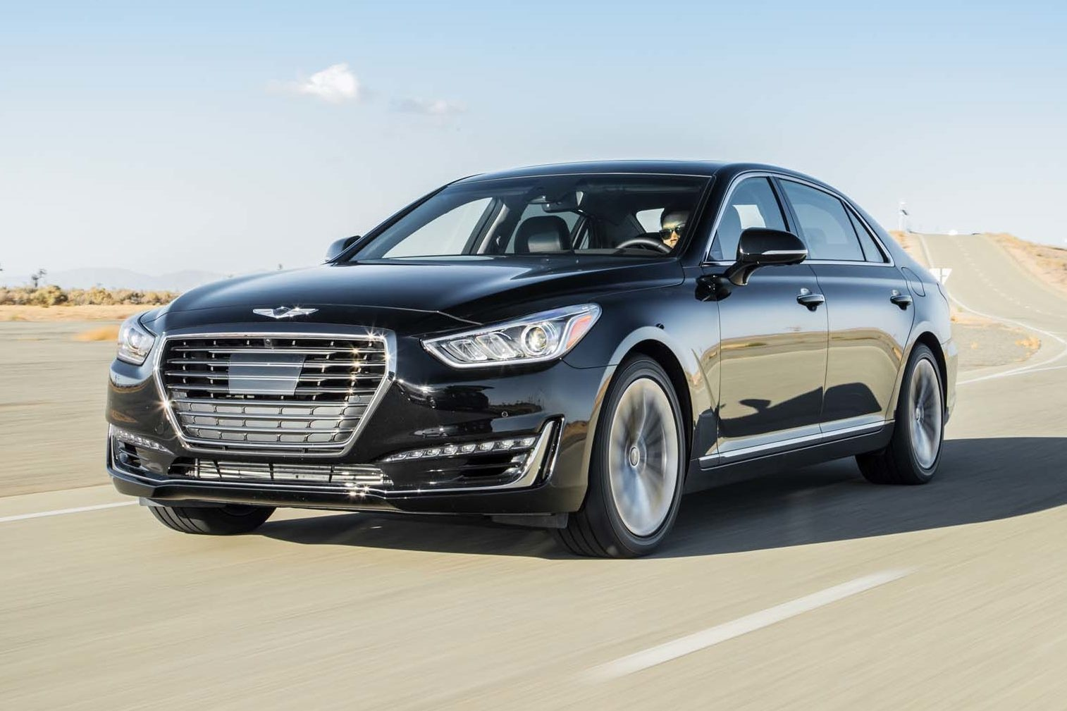 2017 Genesis G90 33T HTRAC Premium Front Three Quarter In Motion 02 E1477947344964