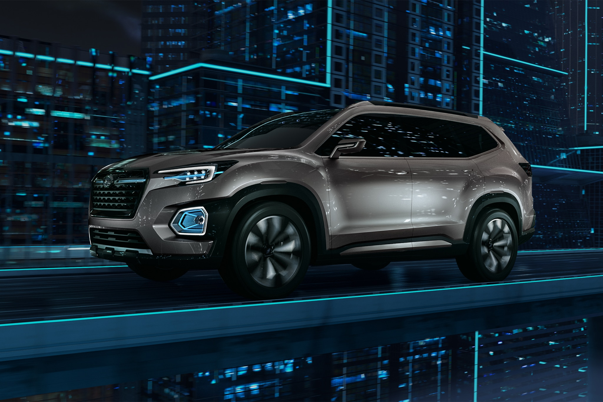 Subaru VIZIV 7 SUV Concept Front Three Quarter In Motion