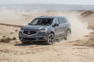 2017 Acura MDX SH AWD Front Three Quarter In Motion 03 300x200