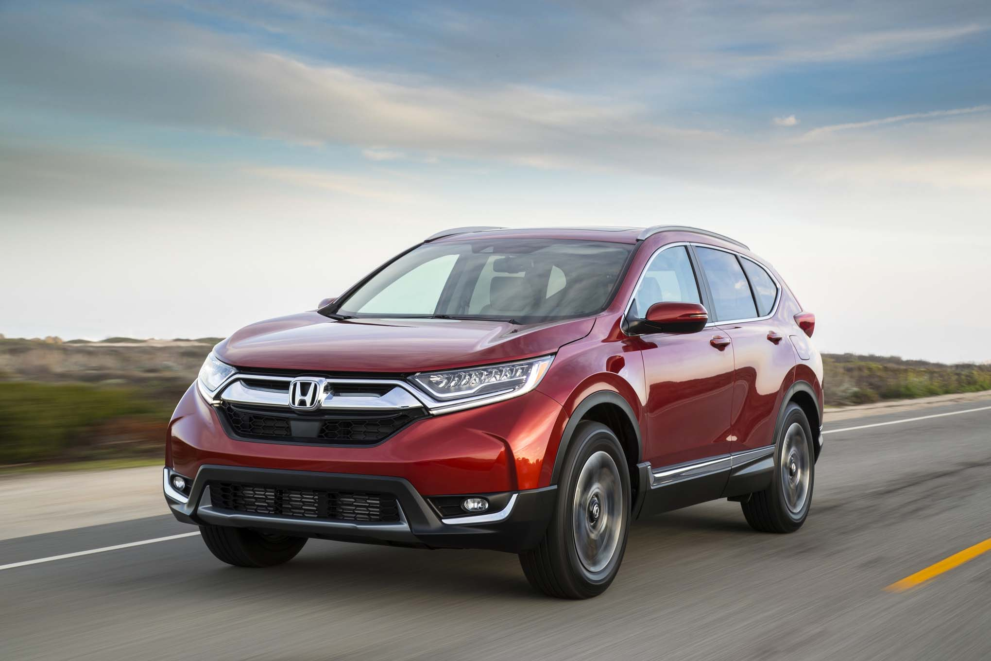 2017 Honda CR V front three quarter in motion