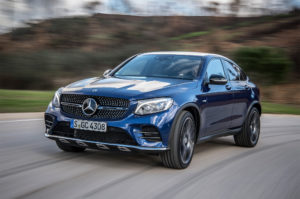 2017 Mercedes AMG GLC43 Coupe Front Three Quarter In Motion 01 300x199