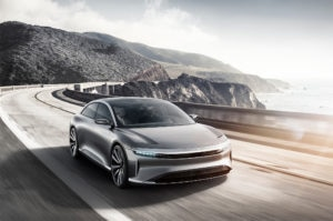 Lucid Motors Air Front Three Quarter In Motion 300x199