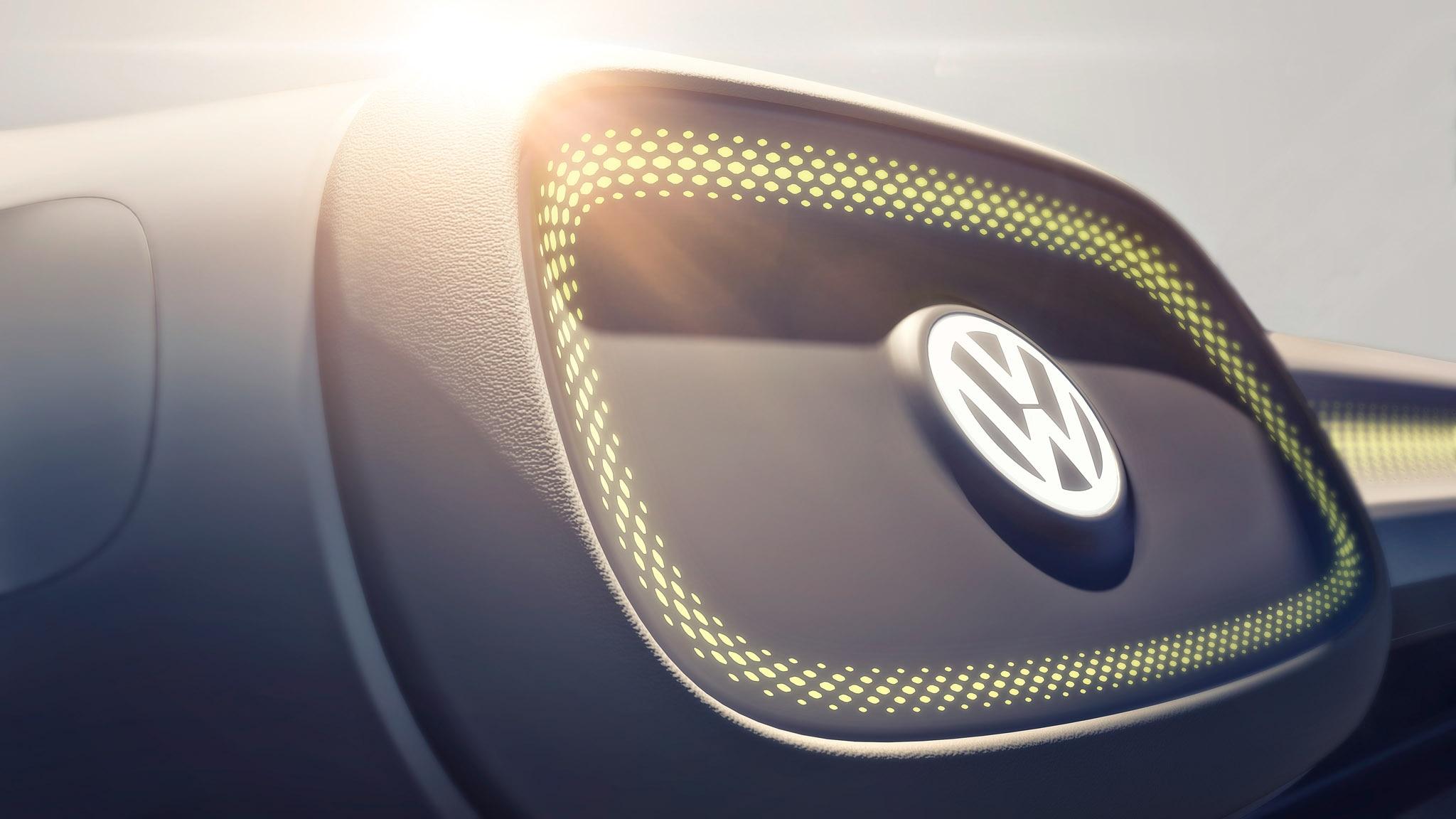 Volkswagen ID bus concept Detroit teaser steering wheel