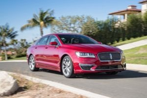 2017 Lincoln MKZ 30T AWD Front Three Quarter In Motion 300x200
