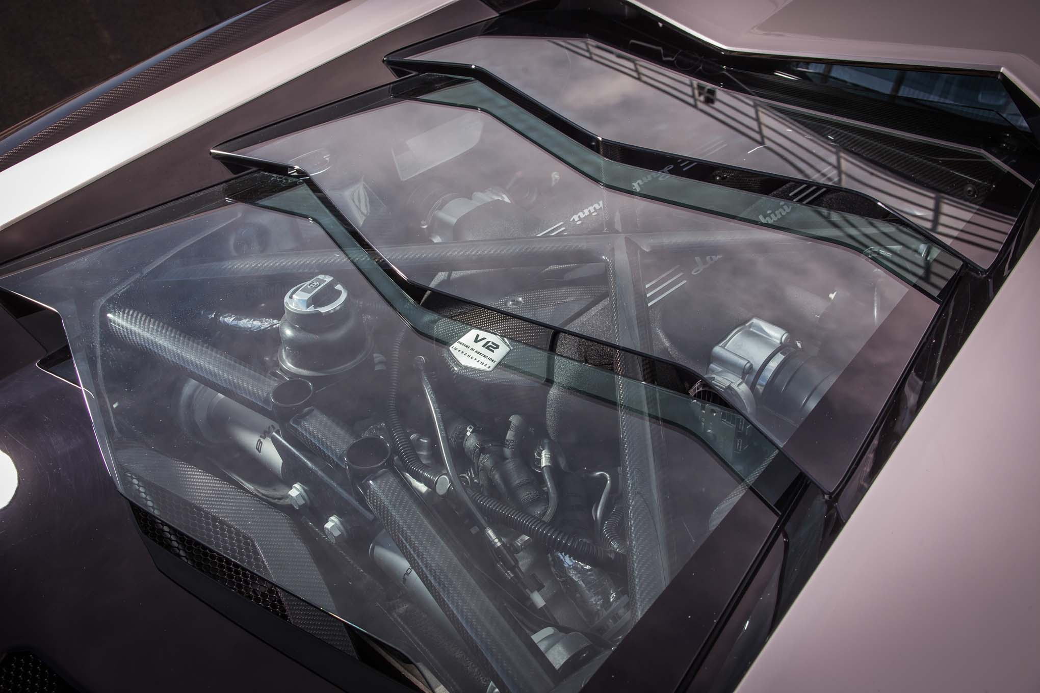2018 Lamborghini Aventador S engine view