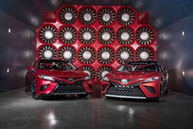 2018 Toyota Camry NASCAR prototype and Camry XSE in AeroDyn wind tunnel