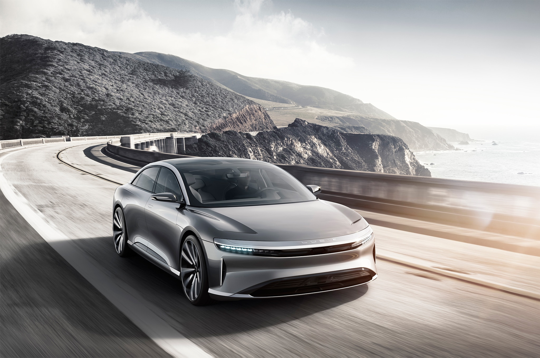 Lucid Motors Air front three quarter in motion