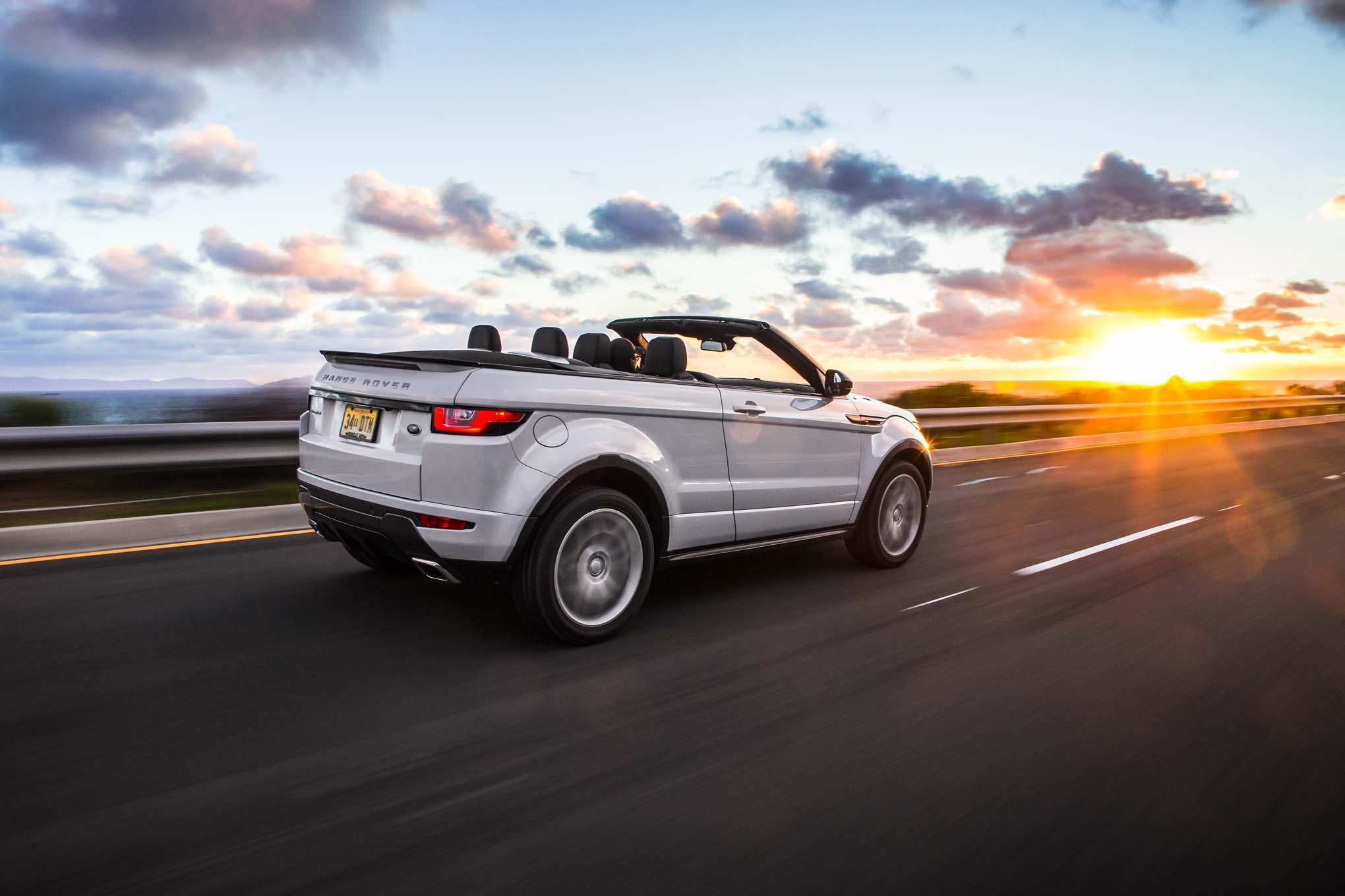 2017 Land Rover Range Rover Evoque convertible rear three quarter in motion 03