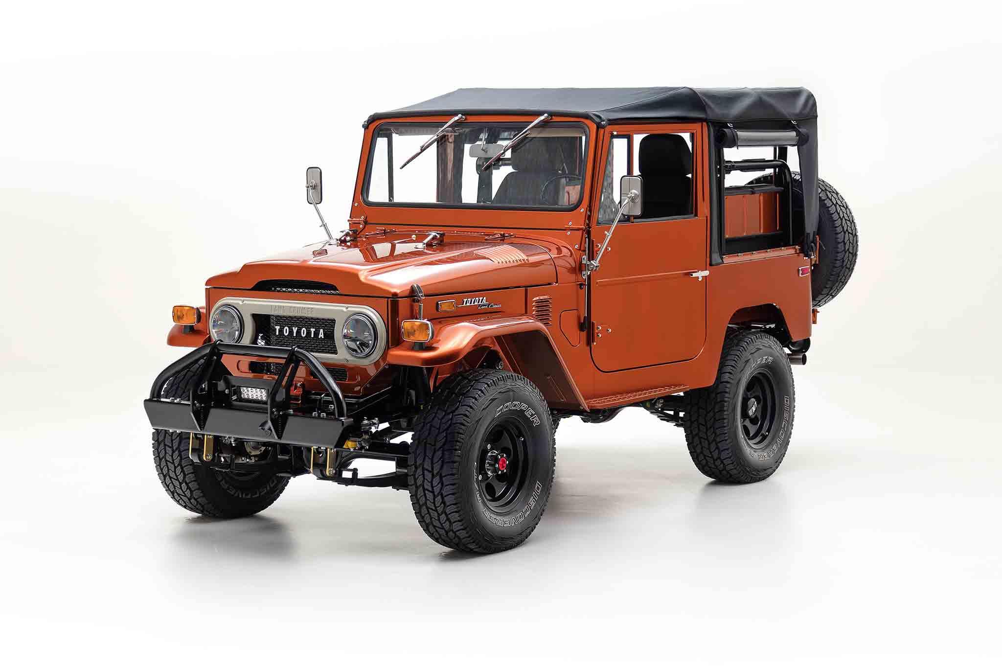 FJ Company 1972 FJ40 Metallic Orange Front Three Quarter 01