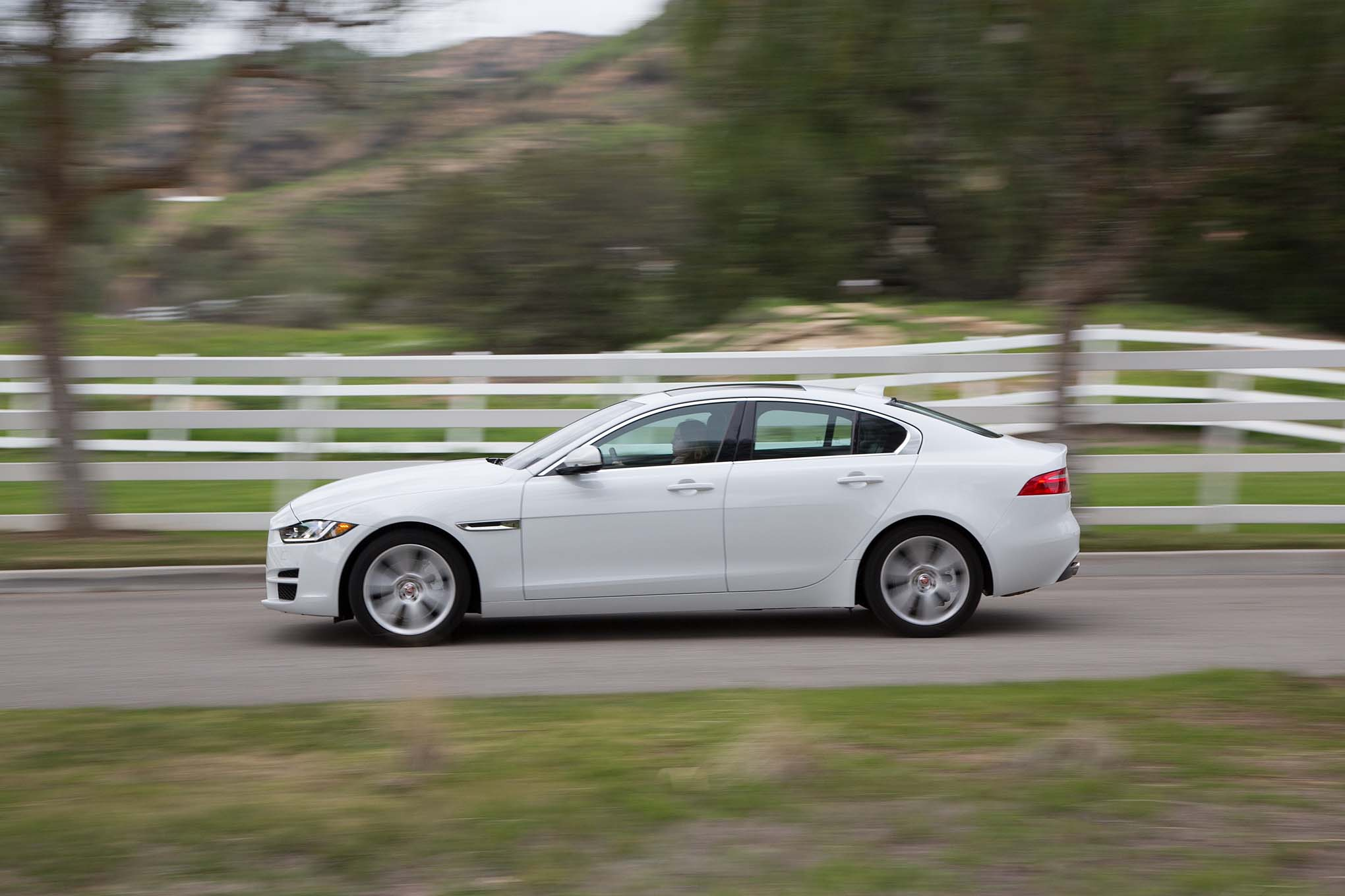 2017 Jaguar XE 25T side in motion