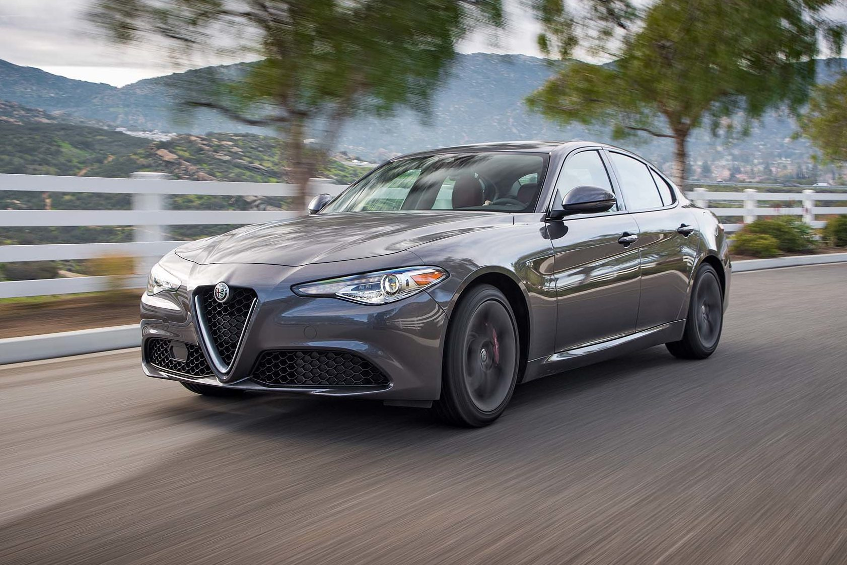 2017 Alfa Romeo Giulia 20 front three quarter in motion