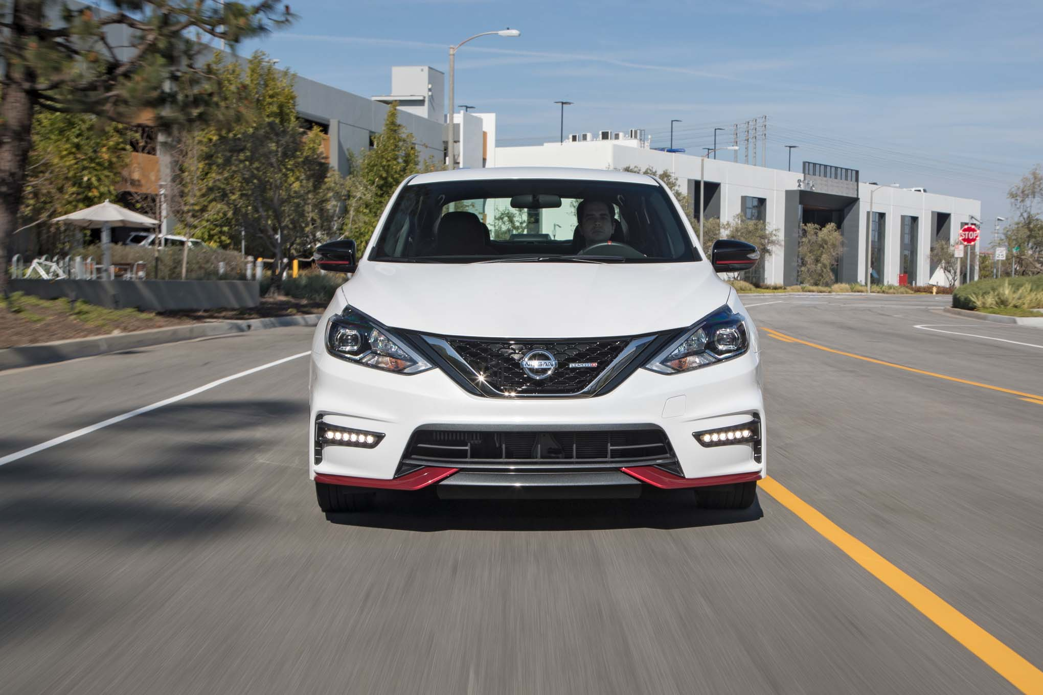 2017 Nissan Sentra NISMO front end in motion