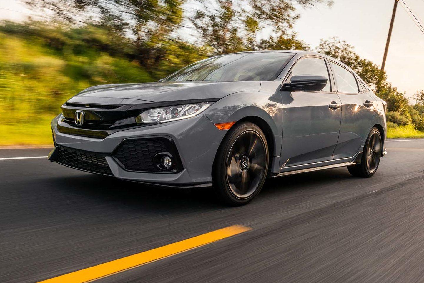 2017 Honda Civic Hatchback Sport Front Three Quarter In Motion 04 E1491859961506