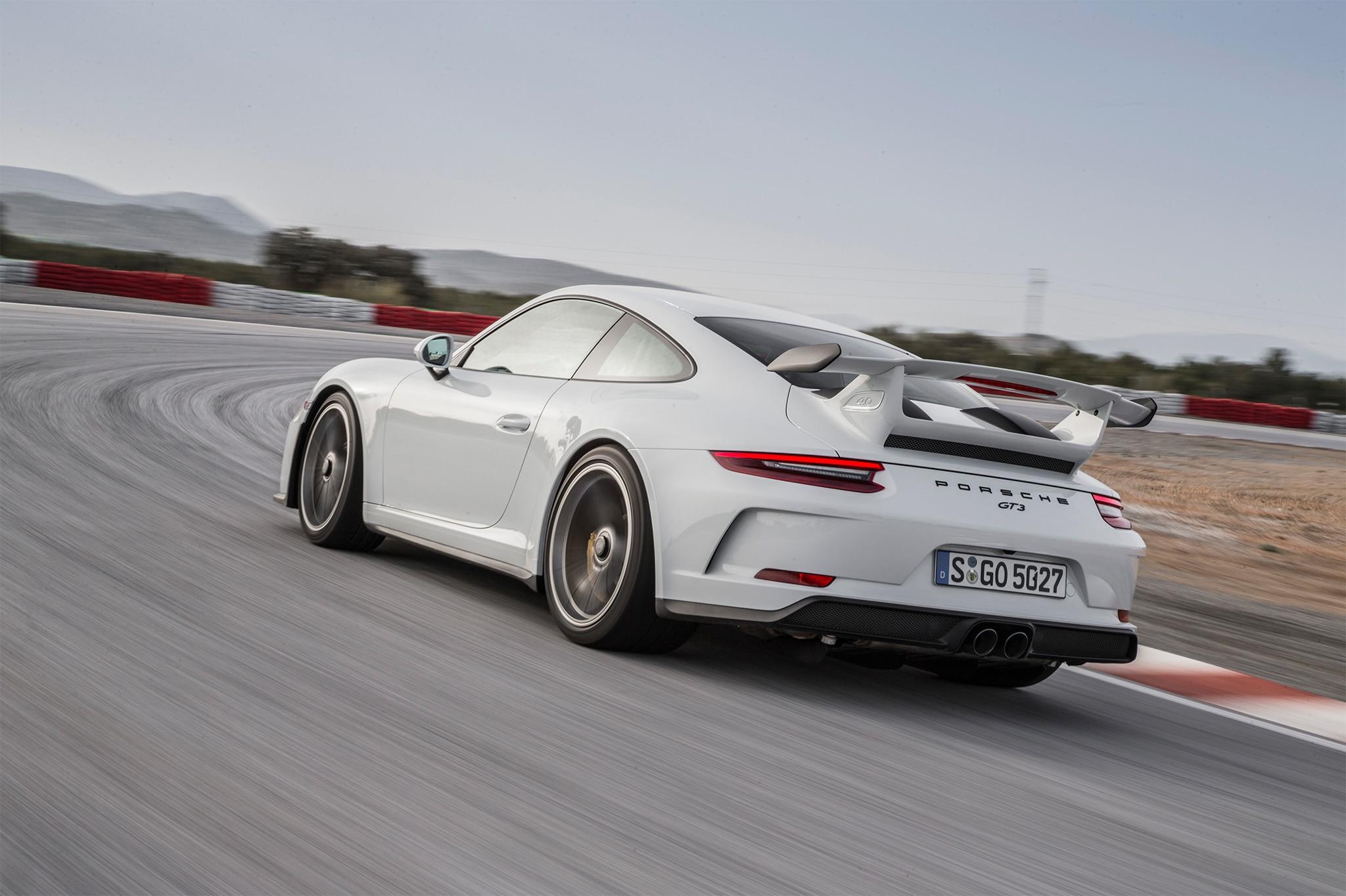 2018 Porsche 911 GT3 rear three quarter in motion 11