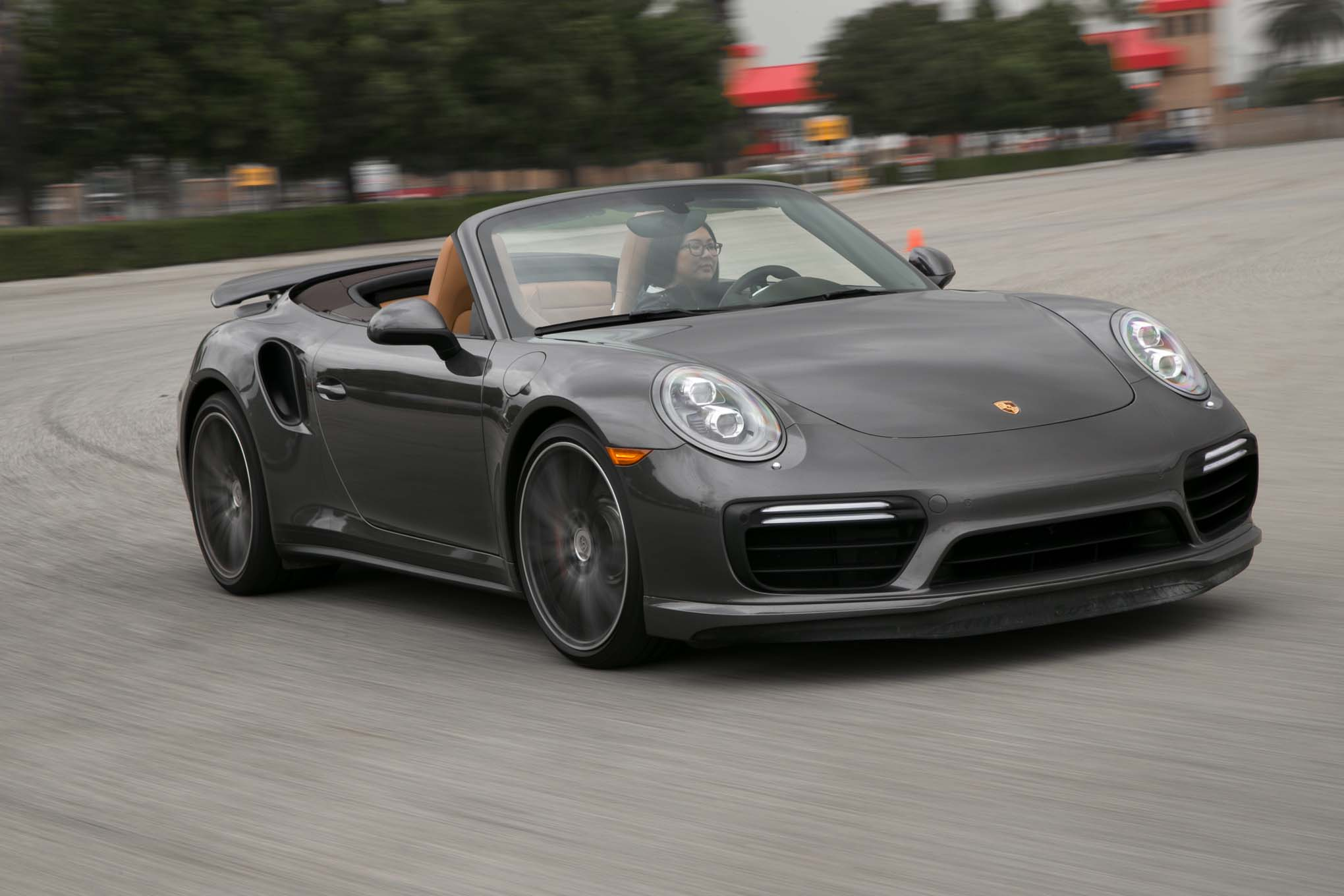 2017 Porsche 911 Turbo Cabriolet Front Three Quarters In Motion