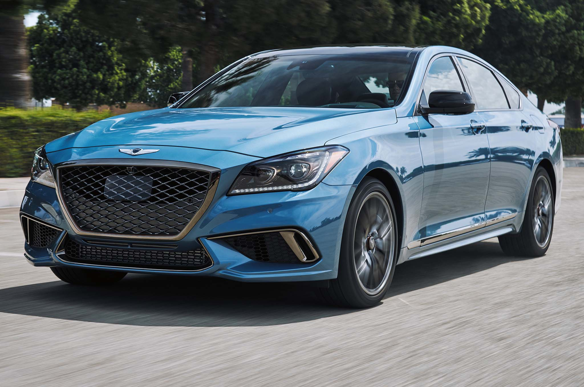 2018 Genesis G80 Sport Front Side View In Motion
