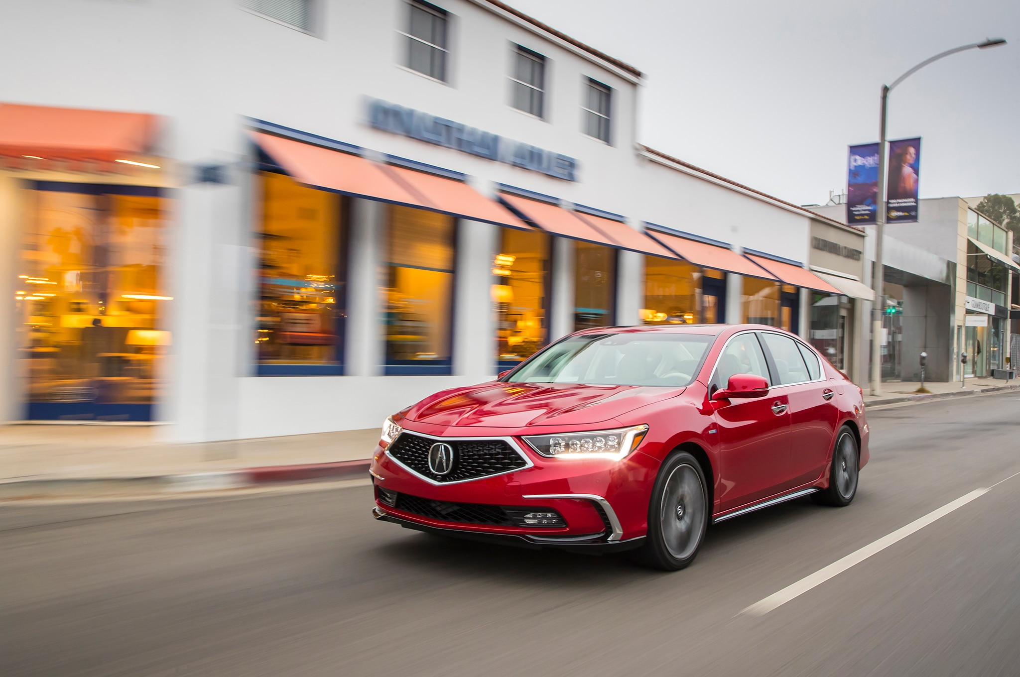 2018 Acura RLX Sport Hybrid Front Three Quarter In Motion 04