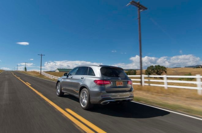 2016 Mercedes Benz GLC 300 4Matic rear three quarters in motion 02