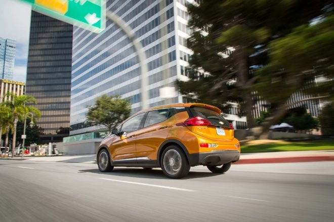 2017 Chevrolet Bolt EV rear three quarter in motion