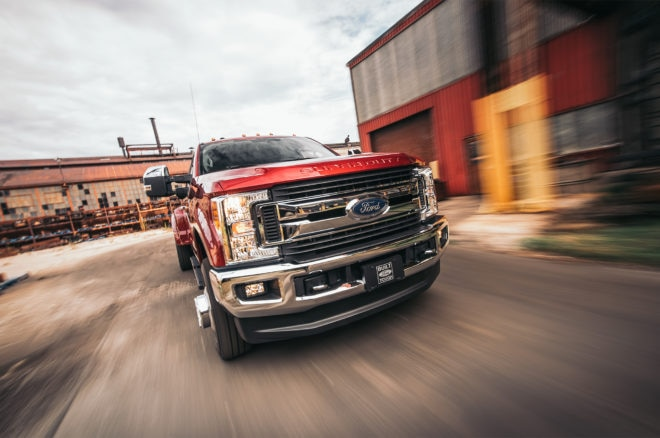2017 Ford F 250 Lariat 4x4 front end in motion