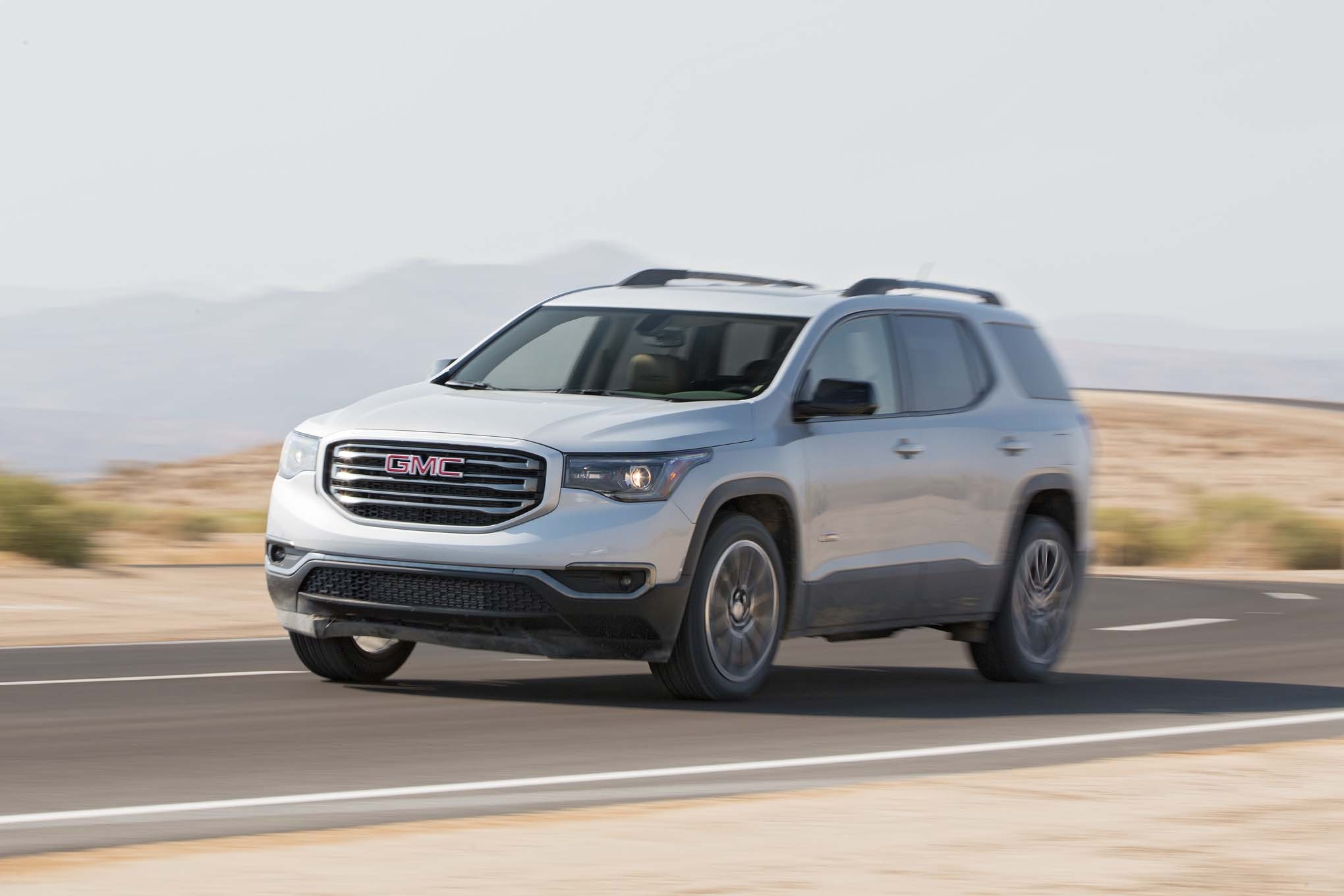 2017 GMC Acadia All Terrain Front Three Quarter In Motion 02