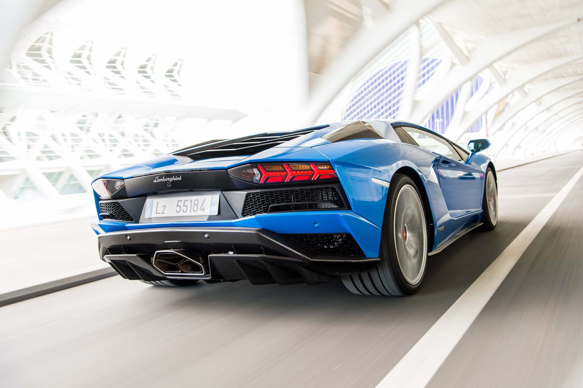 2018 Lamborghini Aventador S Rear Three Quarter In Motion 12 Motor
