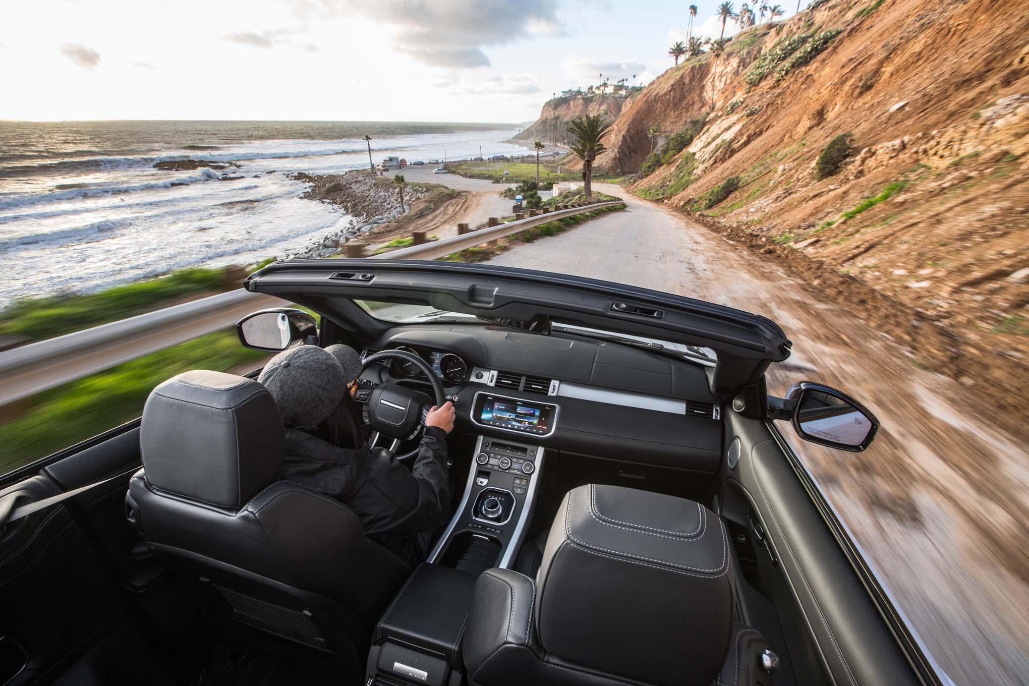 2017 Land Rover Range Rover Evoque convertible interior view in motion