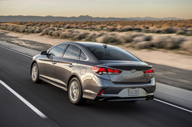 2018 Hyundai Sonata rear three quarter in motion 01