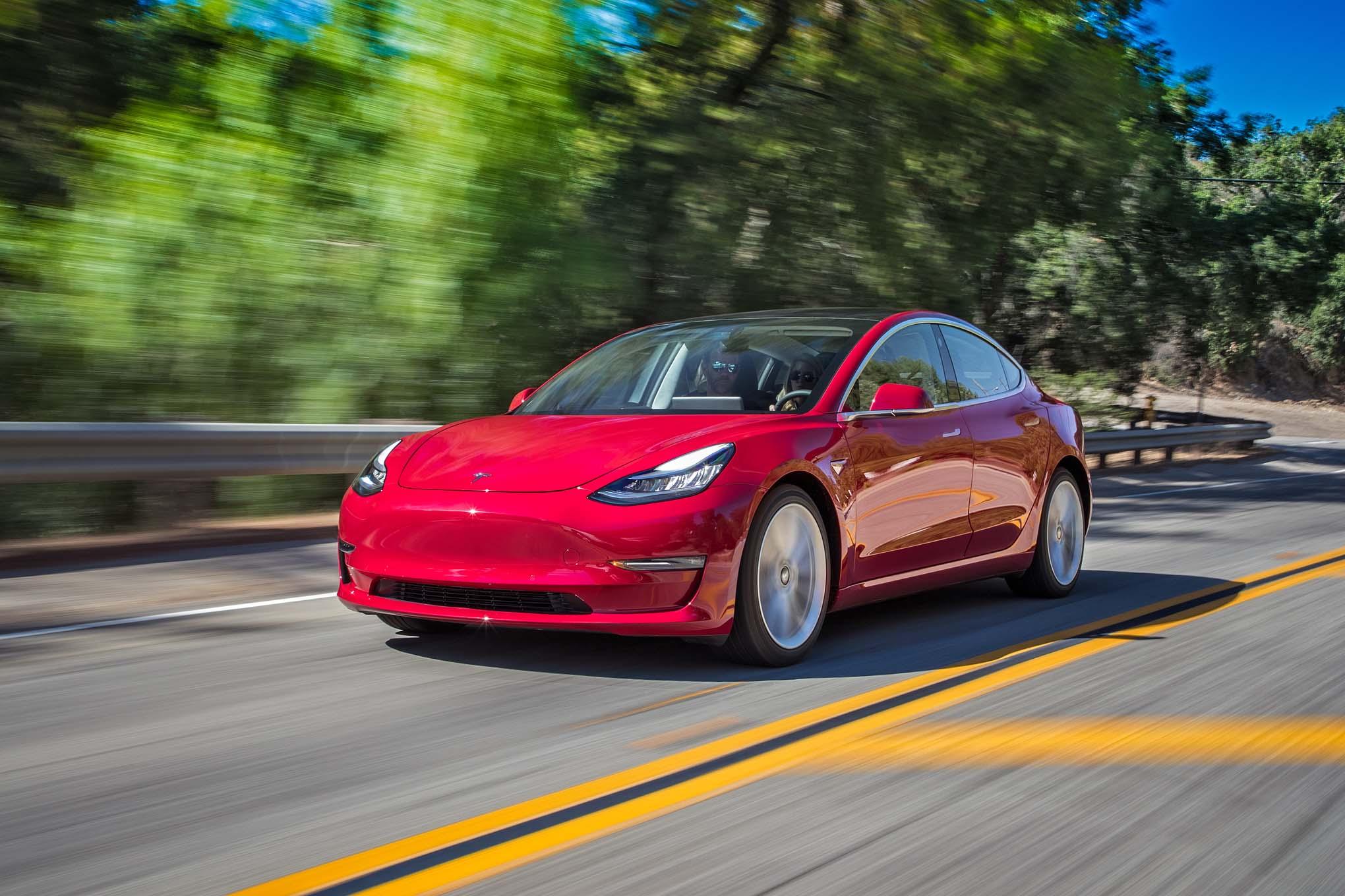 Tesla Model 3 Front Three Quarter In Motion