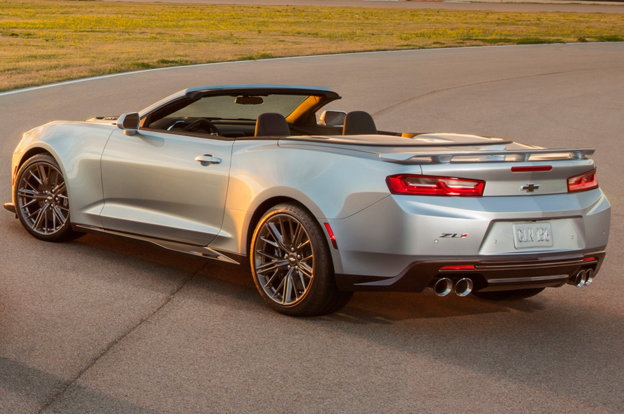 2017 Chevrolet Camaro ZL1 Convertible rear side view on track