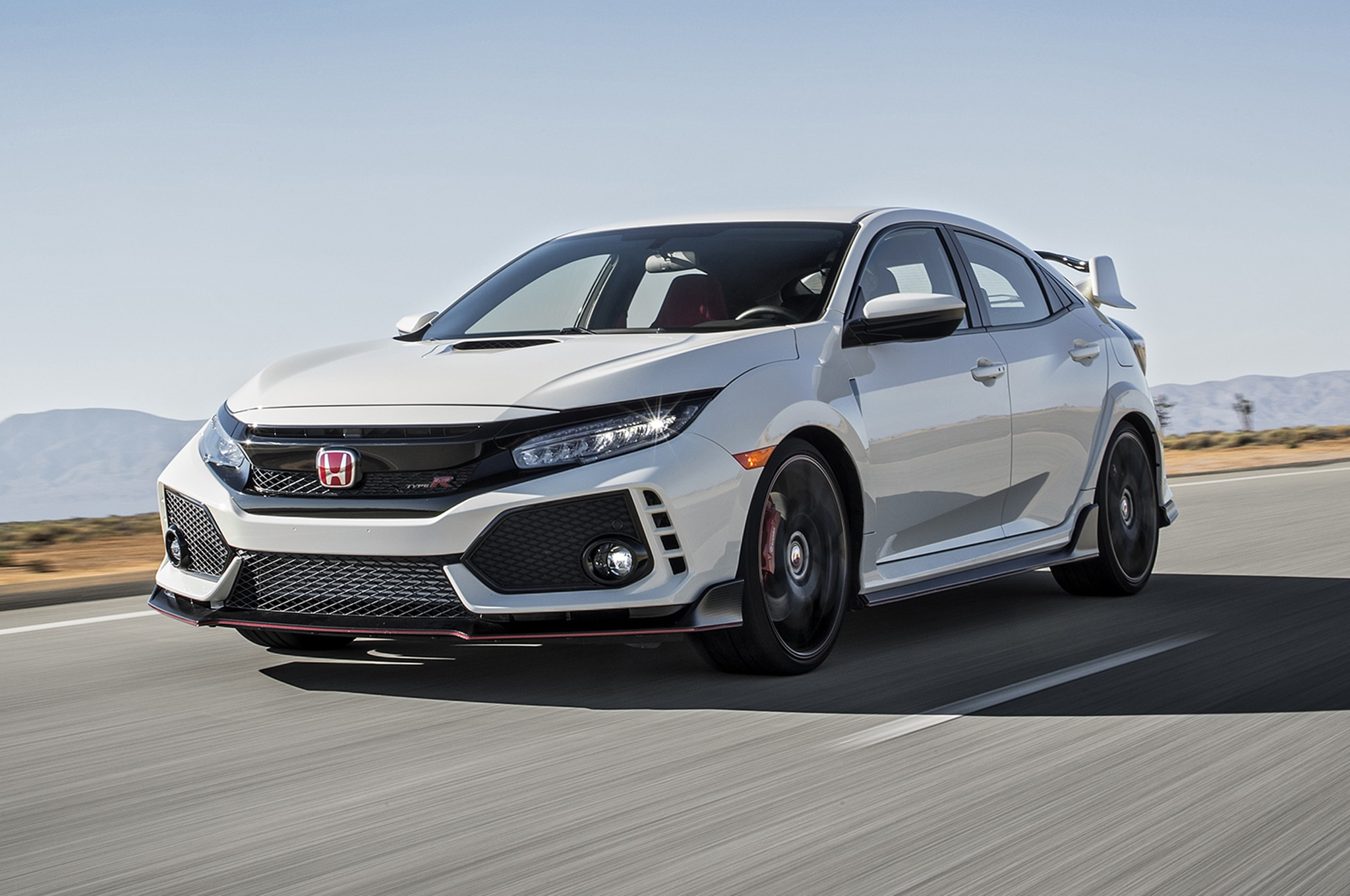 2017 Honda Civic Type R Front Three Quarter In Motion 1