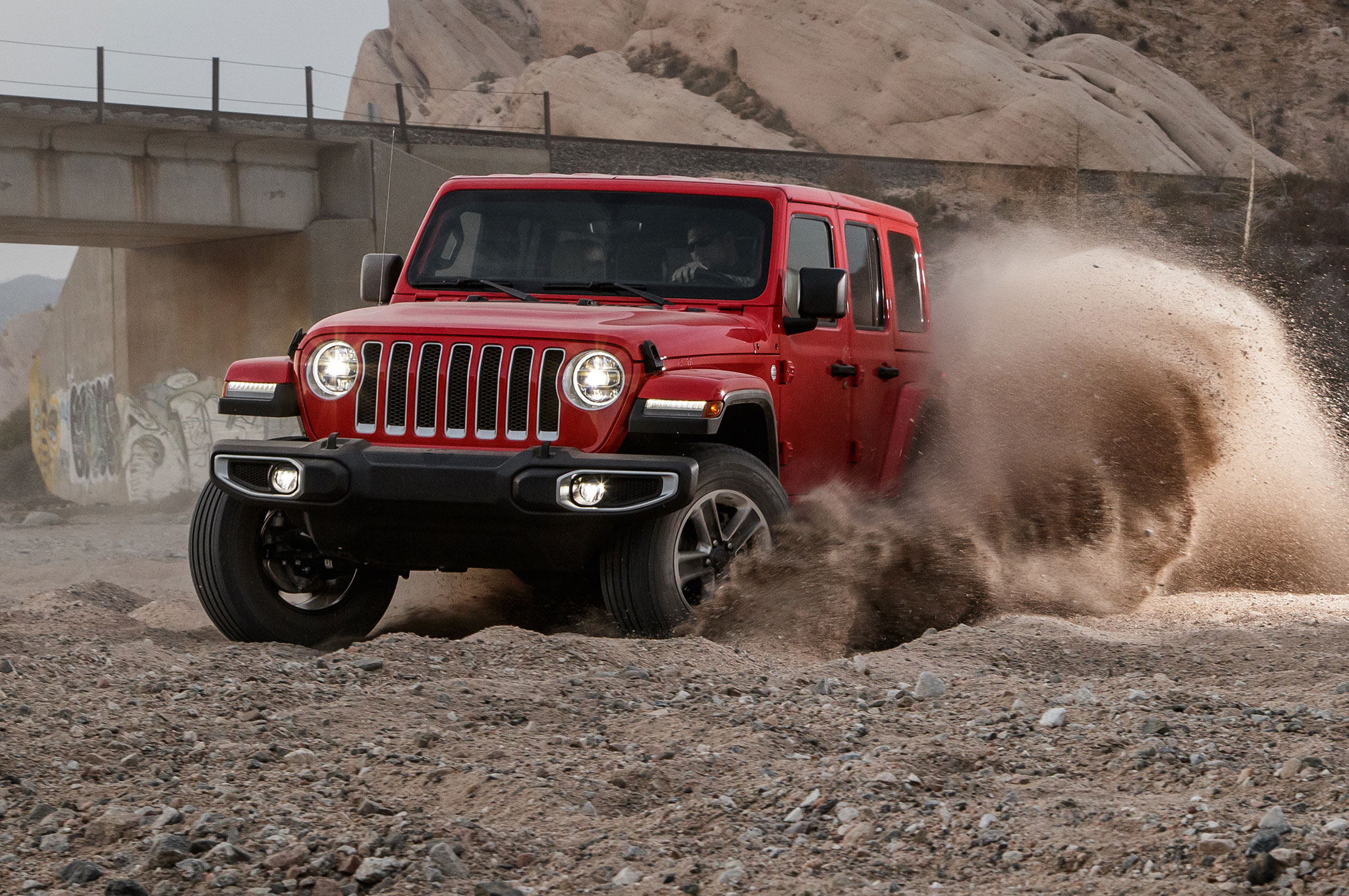 2018 Jeep Wrangler Sahara Unlimited Front View In The Dirt