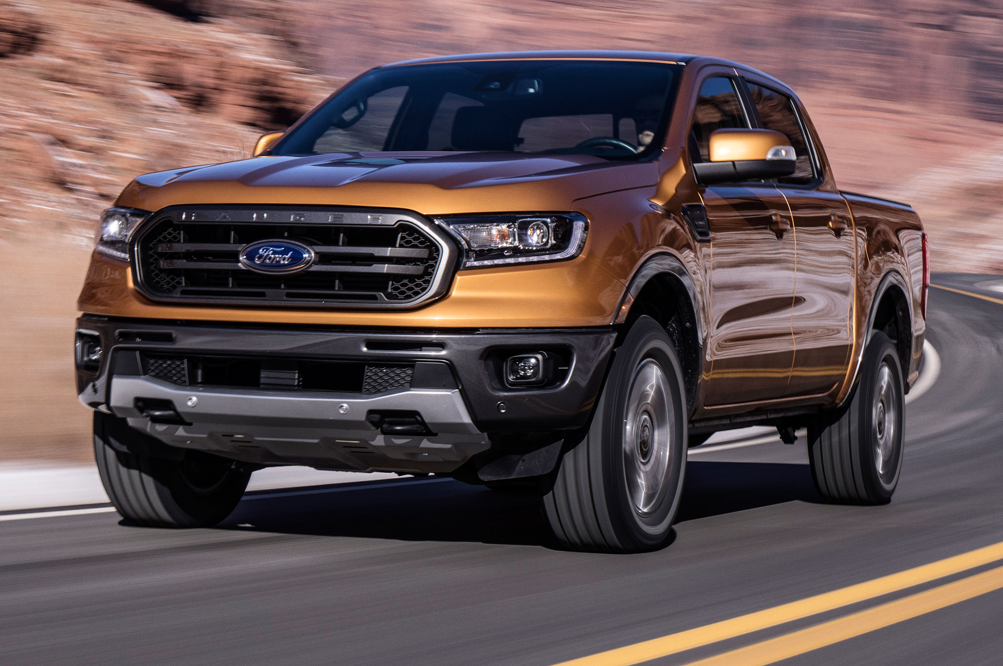 2019 Ford Ranger Front View In Motion Around Curve
