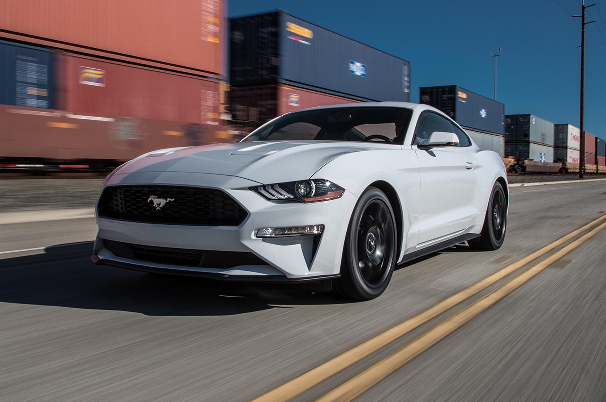 2018 Ford Mustang EcoBoost Front Three Quarter In Motion 04