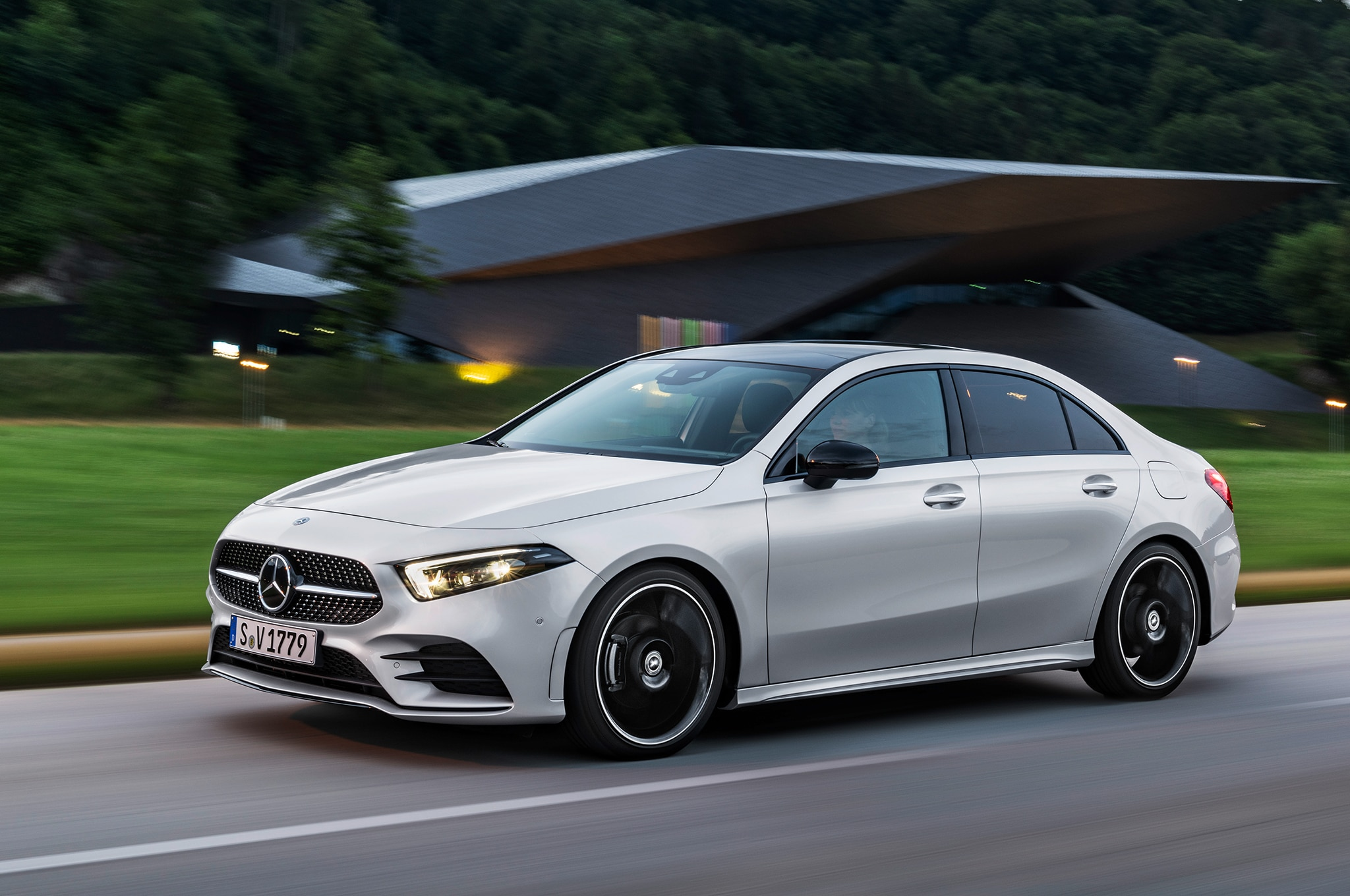 2019 Mercedes Benz A Class Sedan Front Three Quarter In Motion 6