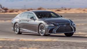 2018 Lexus LS 500h AWD Front Three Quarter In Motion 1