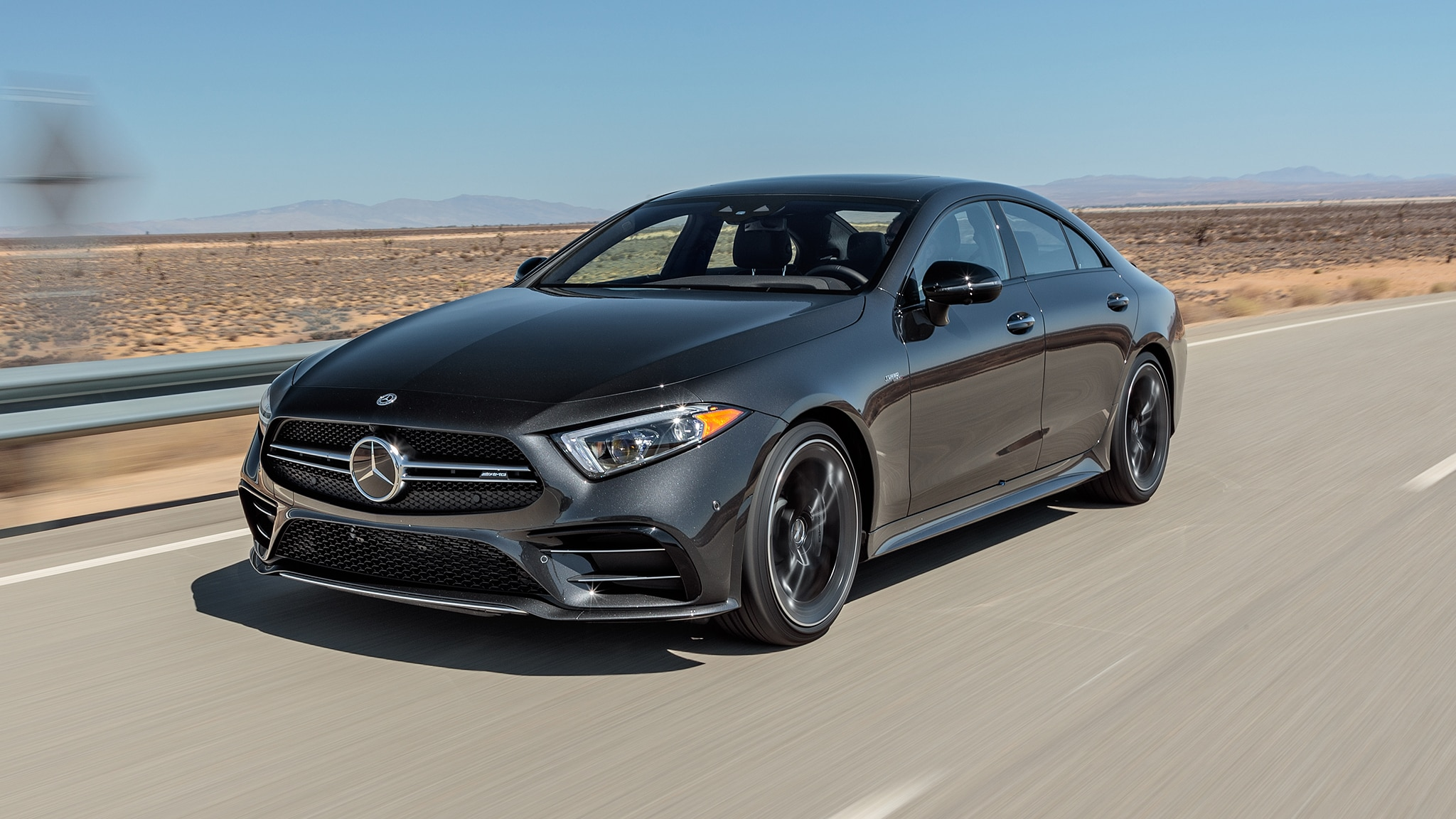 2019 Mercedes AMG CLS Class 53 Turbo 4Matic Front Three Quarter In Motion 1