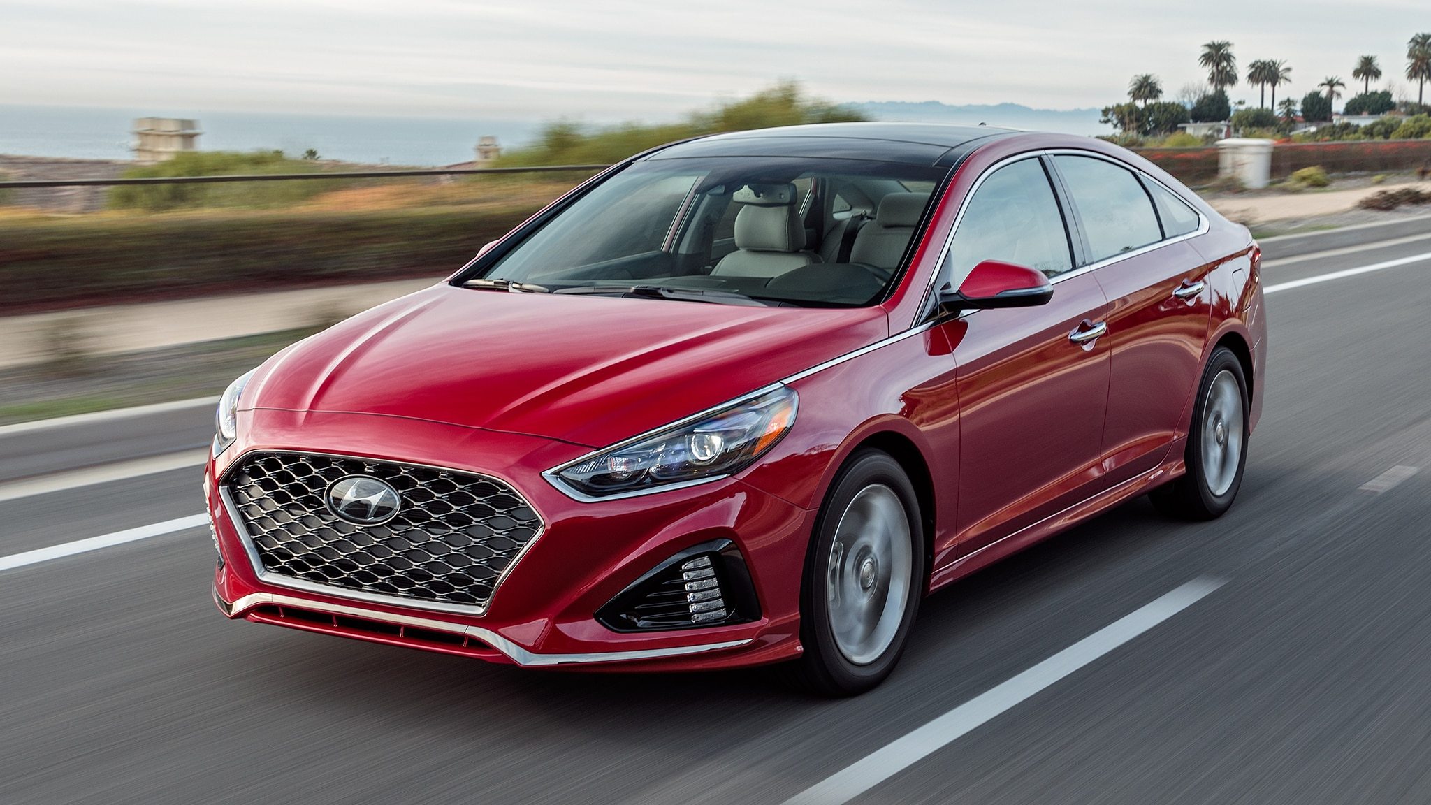 2018 Hyundai Sonata Limited Front Three Quarter In Motion 1