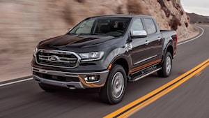 2019 Ford Ranger Lariat 4x4 Ecoboost Front Three Quarter In Motion 5