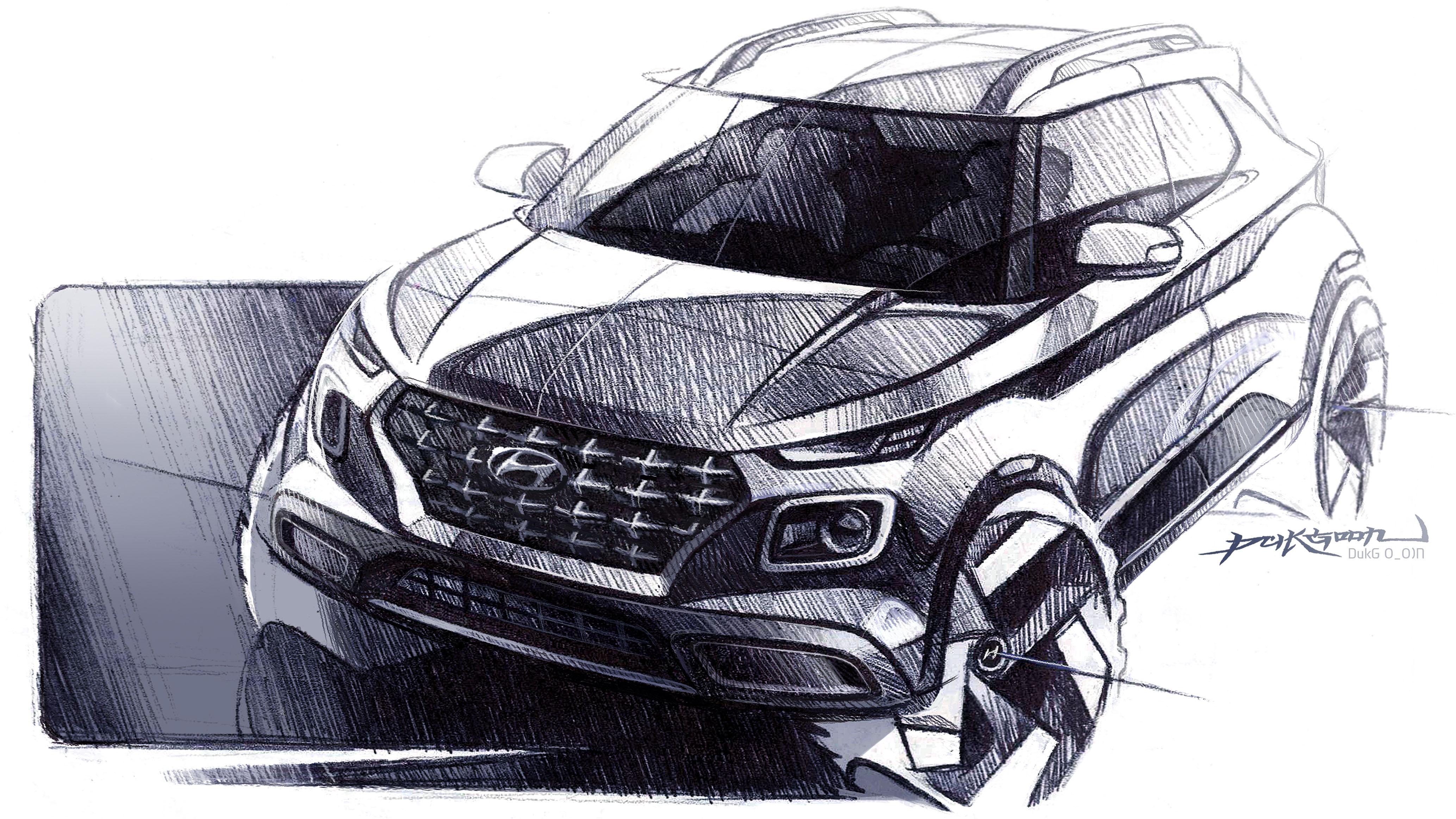 Hyundai Venue Sketch Front Three Quarters