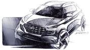 Hyundai Venue Sketch Front Three Quarters